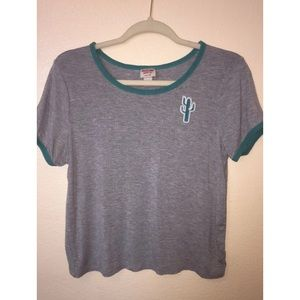 Mossimo Grey T-Shirt With Cactus Patch Size Medium